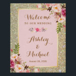 "Gold Glitter Blush Pink Floral Wedding Sign<br><div class=""desc"">================= ABOUT THIS DESIGN ================= Gold Glitter Blush Pink Floral Wedding Welcome Sign Poster. (1) The default size is 8 x 10 inches, you can change it to any size. (2) You are able to Change the Black Stripes to ANY COLOR you like by clicking the &quot;Customize it&quot; button and...</div>"
