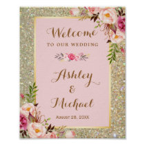 Gold Glitter Blush Pink Floral Wedding Sign