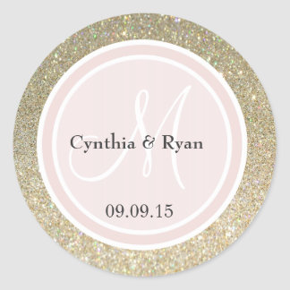 Gold Glitter & Blush Pink Wedding Monogram Classic Round Sticker
