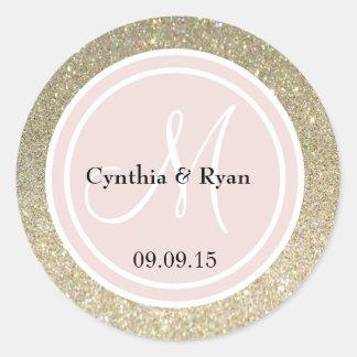 Gold Glitter & Blush Pink Wedding Monogram Stickers