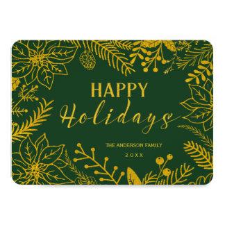 GOLD GLITTER BOTANICAL HOLIDAY FRAME PHOTO 4.5X6.25 PAPER INVITATION CARD