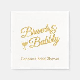 Gold Glitter Bridal Shower  Napkins