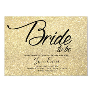 Gold Glitter Bride to Be Bridal Shower Card