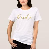 Gold Glitter Bride Typography Wedding T-Shirt