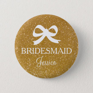 Gold glitter bridesmaid button for wedding party