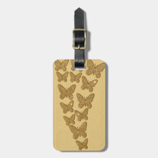 Gold Glitter Butterflies Bag Tag