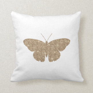 Gold Glitter Butterfly with White and Black Stripe Throw Pillow