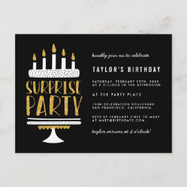 Gold Glitter Cake Surprise Birthday Party Invitation Postcard