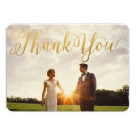 Gold Glitter Calligraphy Chic Photo Thank You Card