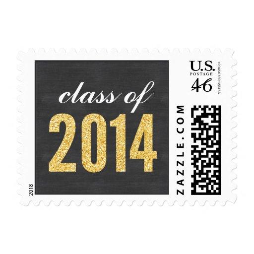 Gold Glitter Chalkboard Class of 2014 Graduation Stamps