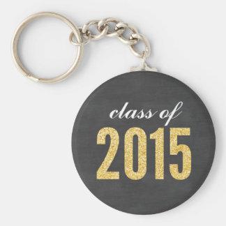 Gold Glitter Chalkboard Class of 2015 Graduation Basic Round Button Keychain