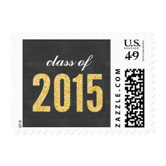 Gold Glitter Chalkboard Class of 2015 Graduation Postage Stamp