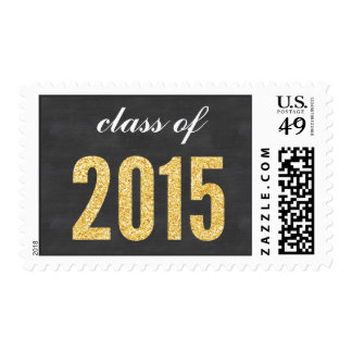 Gold Glitter Chalkboard Class of 2015 Graduation Postage Stamps