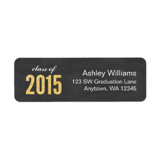 Gold Glitter Chalkboard Class of 2015 Graduation Return Address Label