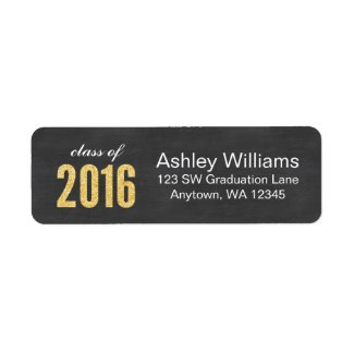 Gold Glitter Chalkboard Class of 2016 Graduation Label