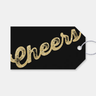 Gold Glitter Cheers Christmas Holiday Gift Tag