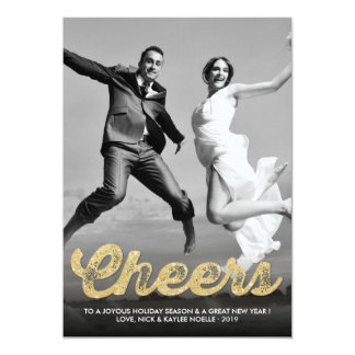 Gold Glitter Cheers Christmas Holiday Greetings Custom Invites