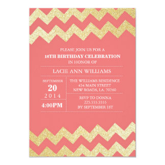 Gold Glitter Chevron Birthday Party | Coral Personalized Announcement