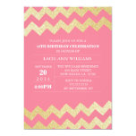 "Gold Glitter Chevron Birthday Party | Pink 5"" X 7"" Invitation Card"