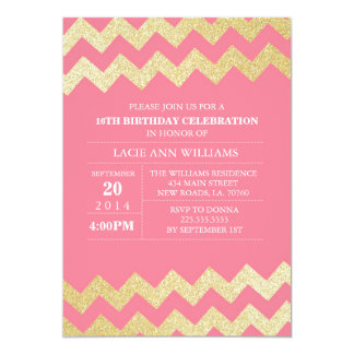 "Gold Glitter Chevron Birthday Party | Pink 5"" X 7"" Invitation Card"