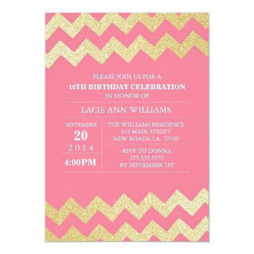Gold Glitter Chevron Birthday Party | Pink 5x7 Paper Invitation Card