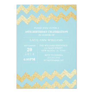 Gold Glitter Chevron Birthday Party | Turquoise Card