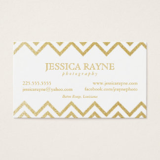 Gold Glitter Chevron Business Cards