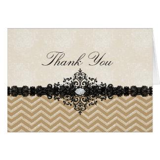 Gold Glitter Chevron & Damask Thank You Card