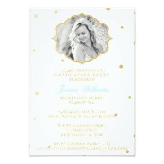 Gold Glitter Chevron Graduation | Blue Card