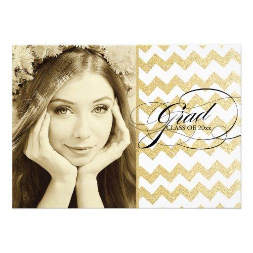 Gold Glitter Chevron Graduation Invitations
