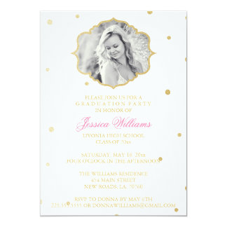 Gold Glitter Chevron Graduation | Pink Card