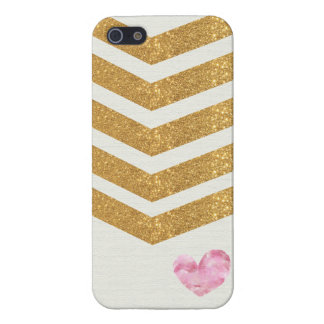 Gold Glitter Chevron Heart iPhone Case iPhone 5 Cover