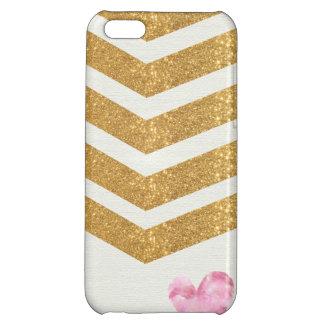 Gold Glitter Chevron Heart iPhone Case iPhone 5C Cases