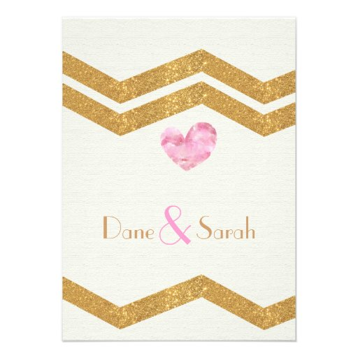 Gold Glitter Chevron Heart Wedding Invitation