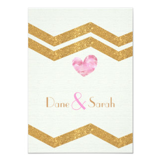"Gold Glitter Chevron Heart Wedding Invitation 4.5"" X 6.25"" Invitation Card"