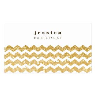 Gold Glitter Chevron Mod Hair Stylist Card Business Card Template