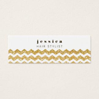 Gold Glitter Chevron Mod Hair Stylist Skinny Card