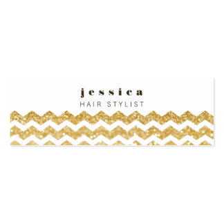 Gold Glitter Chevron Mod Hair Stylist Skinny Card Business Card Templates