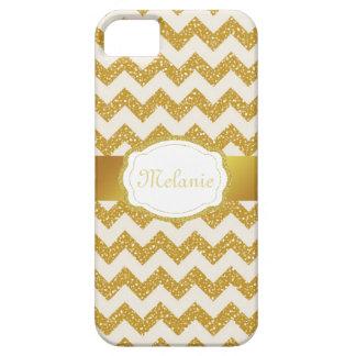 Gold Glitter Chevron Monogram iPhone iPhone SE/5/5s Case