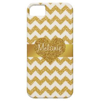 Gold Glitter Chevron Monogram iPhone with Heart iPhone 5 Case