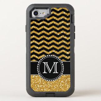 Gold Glitter Chevron Monogrammed Defender OtterBox Defender iPhone 7 Case
