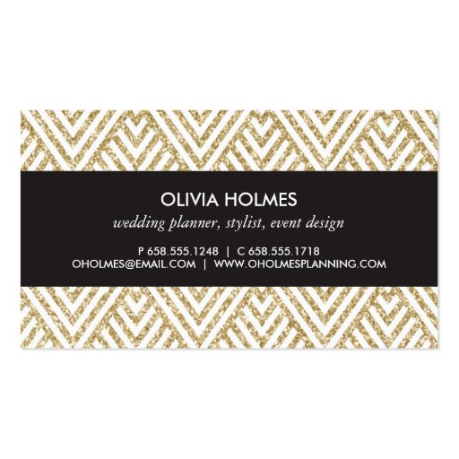 Gold Glitter Chevron Pattern Business Card (back side)