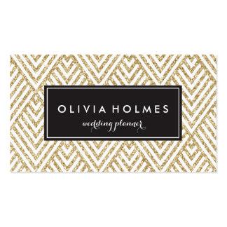 Gold Glitter Chevron Pattern Business Card