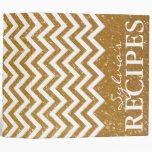 Gold glitter chevron pattern recipe binder book