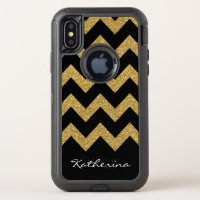 Gold Glitter Chevron Personalized with Name OtterBox Defender iPhone XS Case
