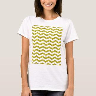 Gold Glitter Chevron Print T-Shirt