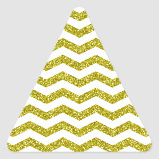 Gold Glitter Chevron Print Triangle Sticker