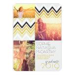 Gold Glitter Chic Chevron Stripes Graduation Party Card