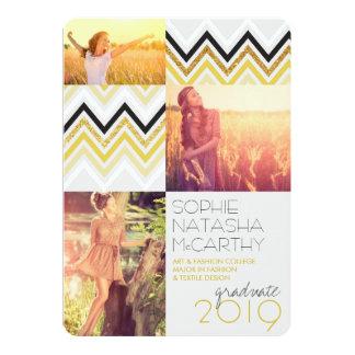 Gold Glitter Chic Chevron Stripes Graduation Party 5x7 Paper Invitation Card