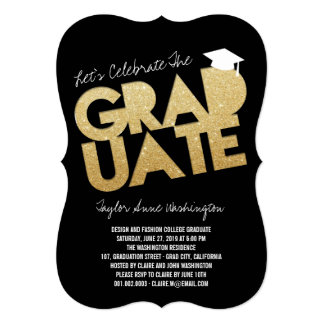 Gold Glitter Chic Graduate Cutout Graduation Party Invites